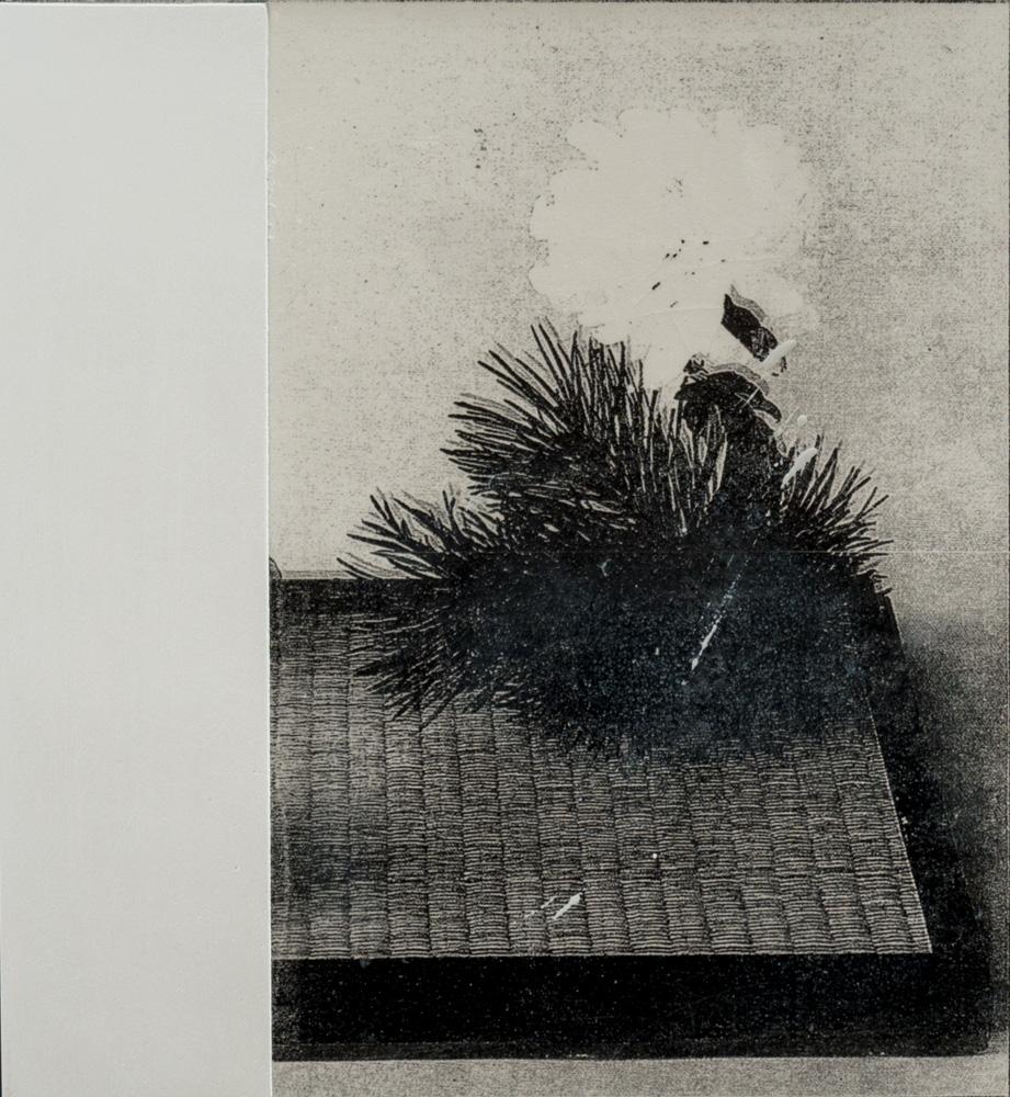 Tim Bohländer, Ikebana Painting #5, 2017 Gesso, Nitrofrottage und Lackl auf Holz